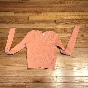 Free people orange cropped sweater blouse stretch